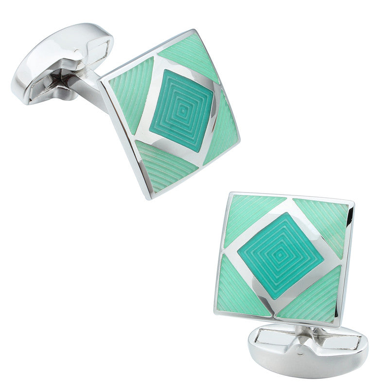 Green Square Enamel Cufflinks
