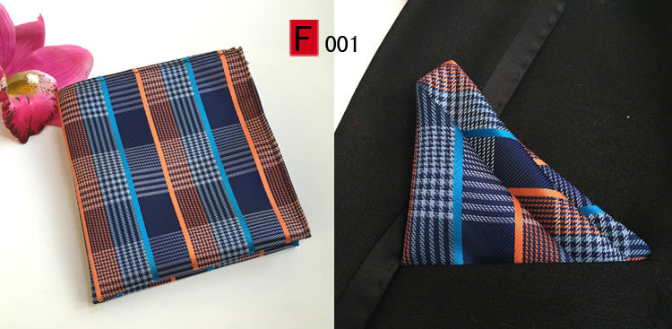 Men's Stripe Plaid Silk Handkerchief