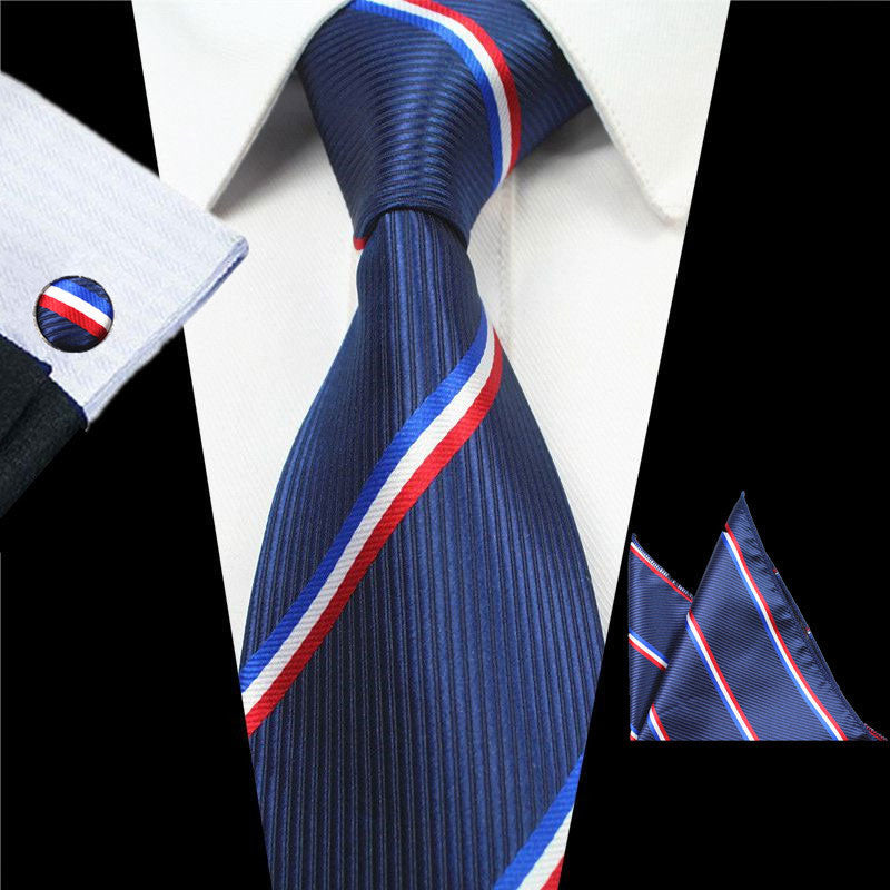 Navy Blue Red Stripes Tie Handkerchief Cufflink Set