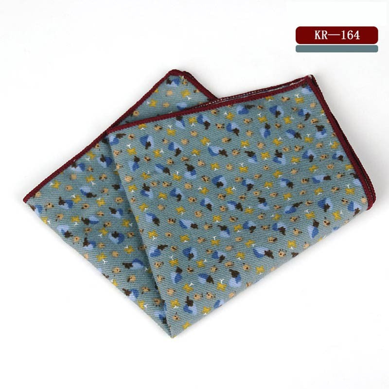 Flower Print Cotton Pocket Square