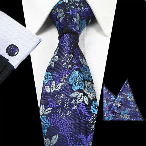 Blue Purple Floral Tie Handkerchief Cufflink Set