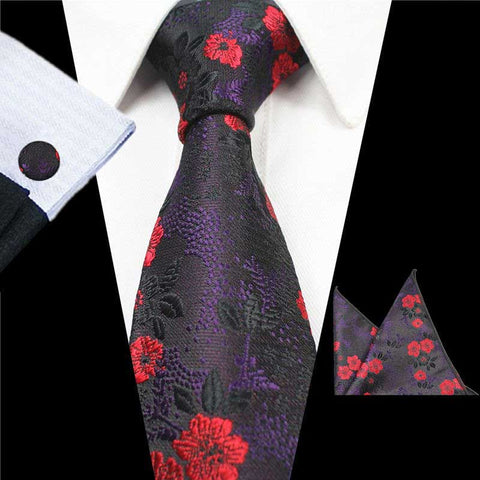Red Black Flowers Tie Handkerchief Cufflink Set