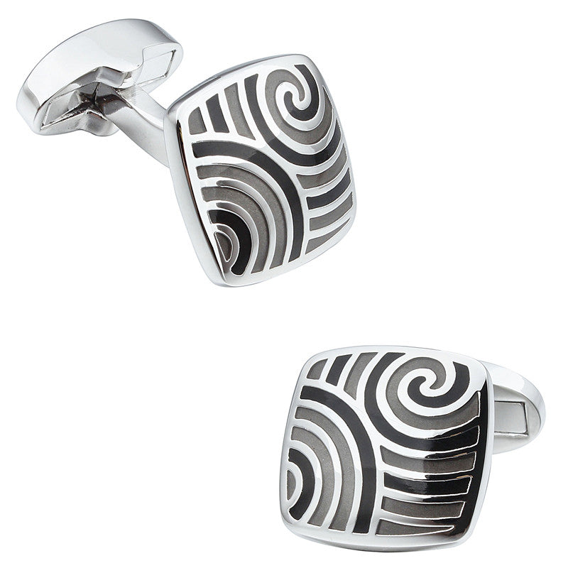 Black and Gray Square Enamel Cufflinks