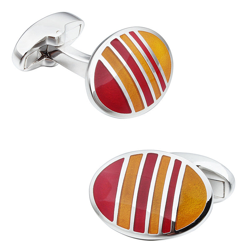 Red and Yellow Oval Enamel Cufflinks