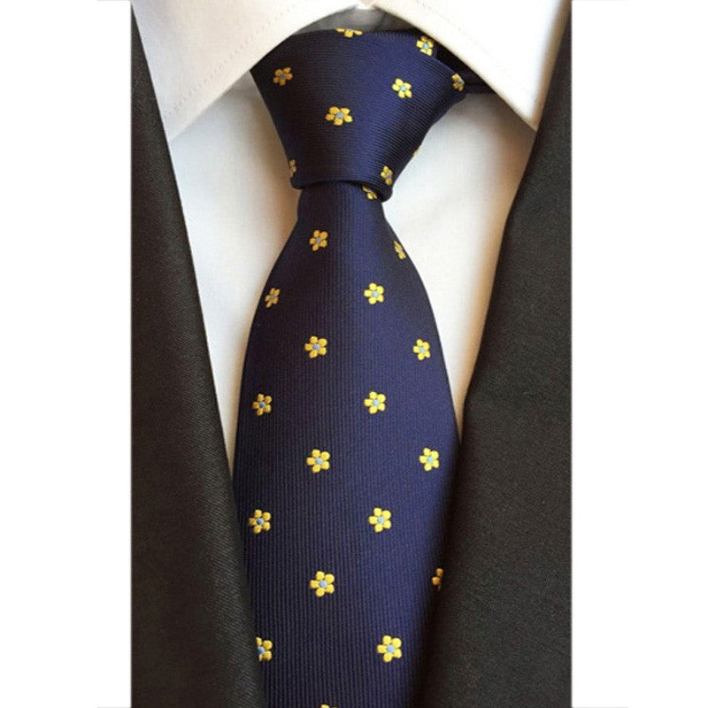 100% Silk Blue with Yellow Floral Tie