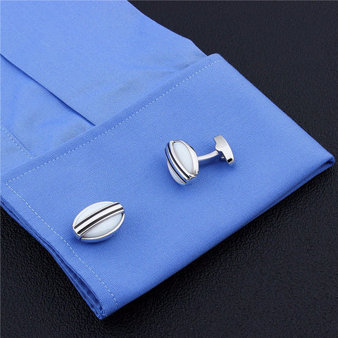 White Oval Stone Cufflinks