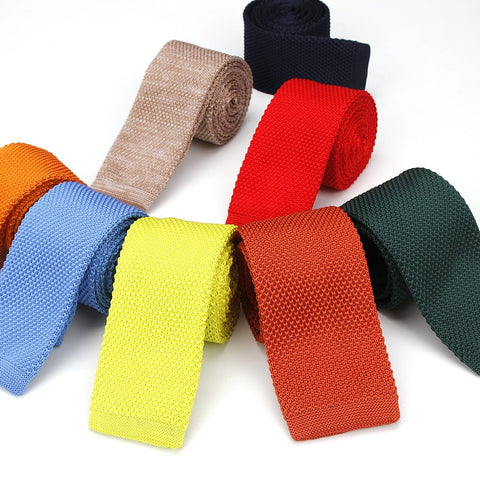 Solid Colors Knitted Skinny Ties