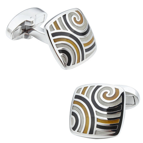 Black and Yellow Square Enamel Cufflinks