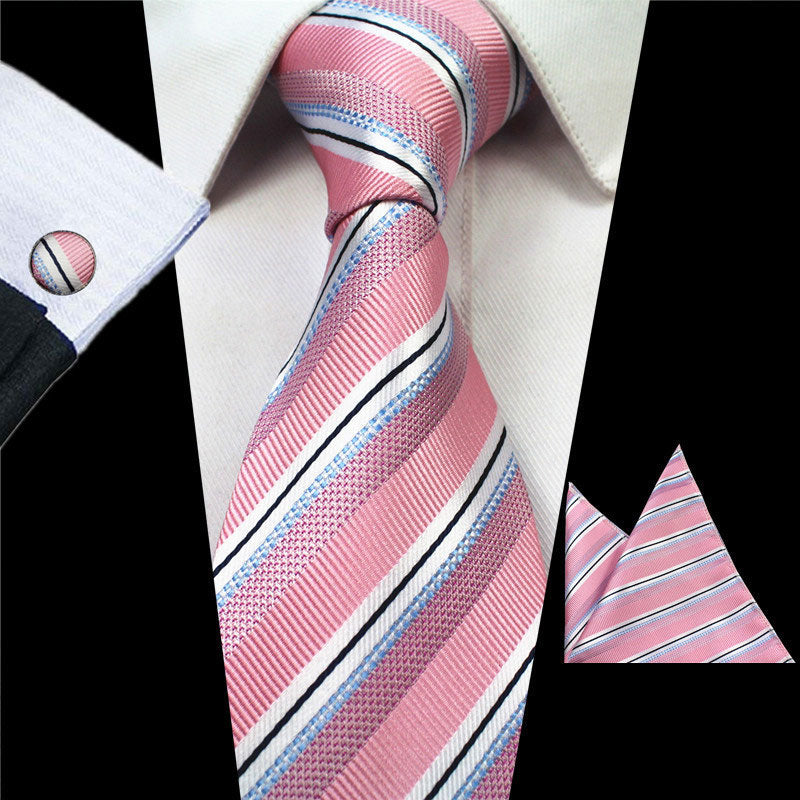 Silk Pink Stripes Gravata Tie Handkerchief Cufflink Set