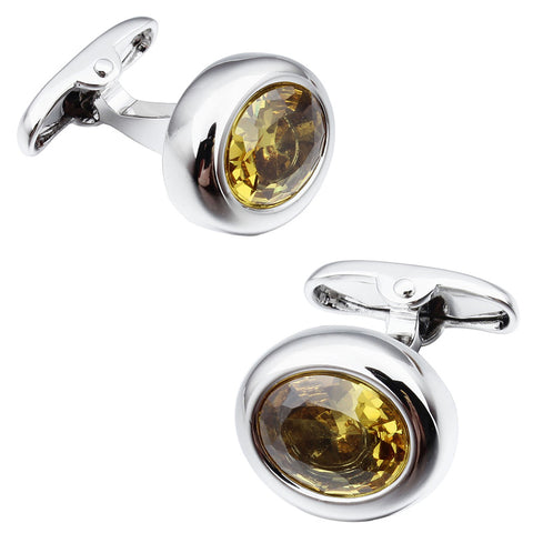 Silver Yellow Zircon Cufflinks
