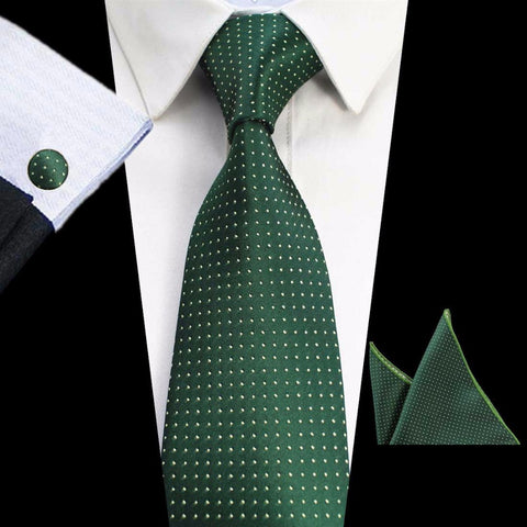 Dark Green Dots Tie Handkerchief Cufflink Set