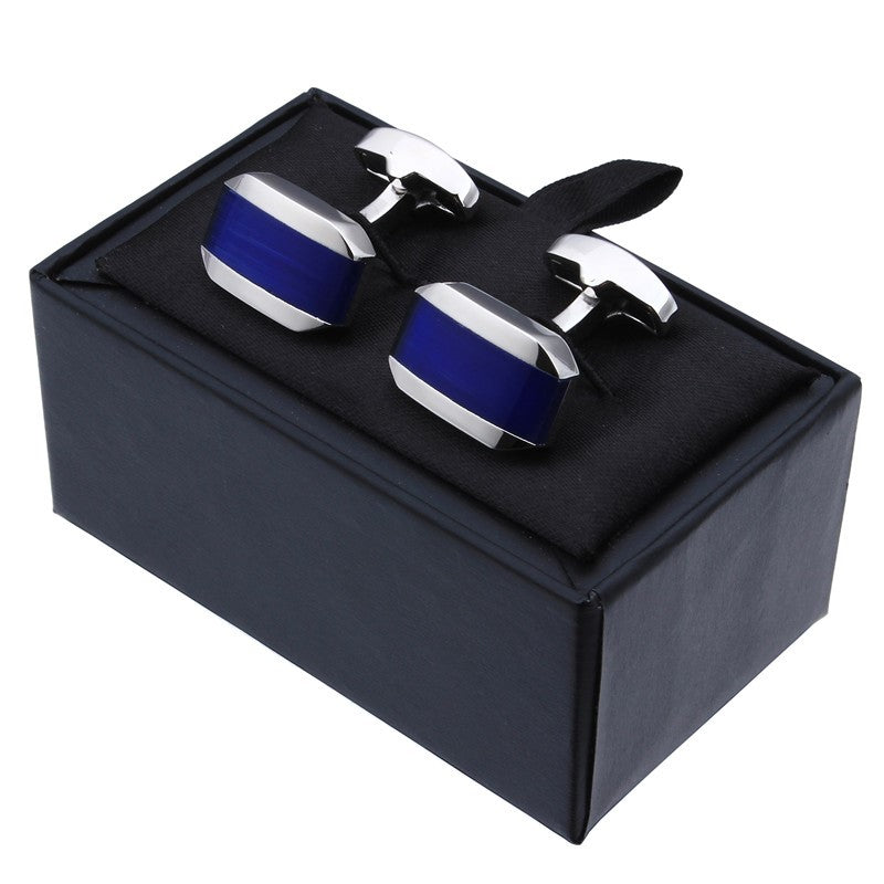 Blue Cat Eye Stone Cufflinks