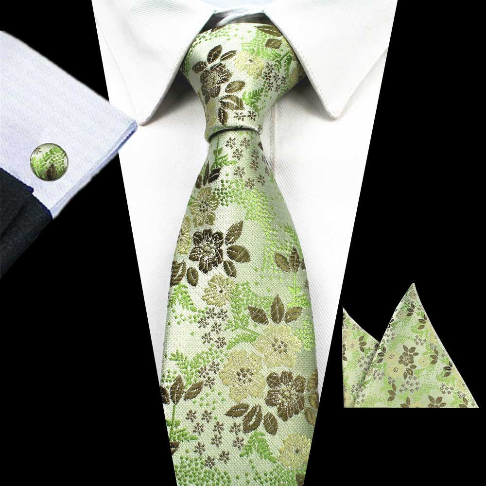 Green Flowers Tie Handkerchief Cufflink Set