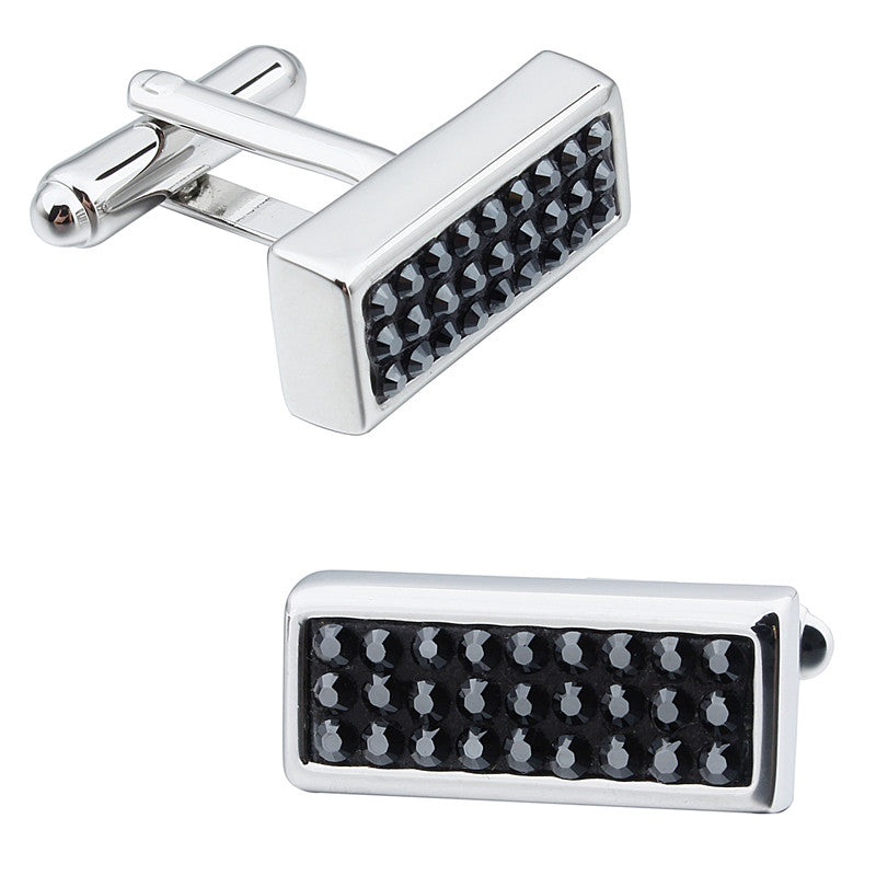Black Rectangular Crystal Cufflinks