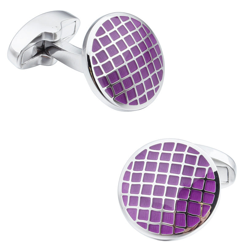 Purple Round Enamel Cufflinks