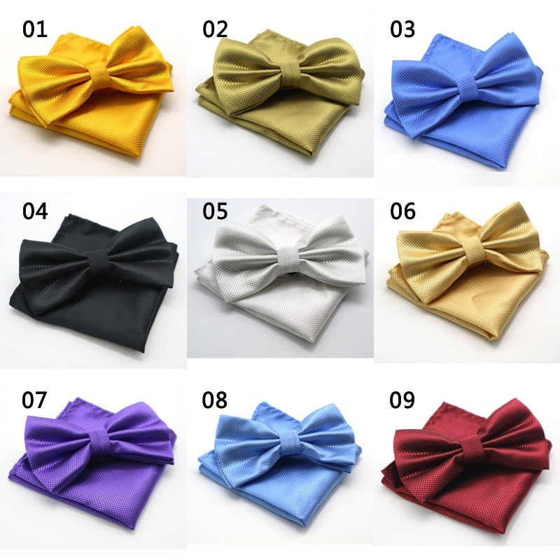 Luxury 2 Pcs Men's Solid Color Pocket Square Bow Tie Set