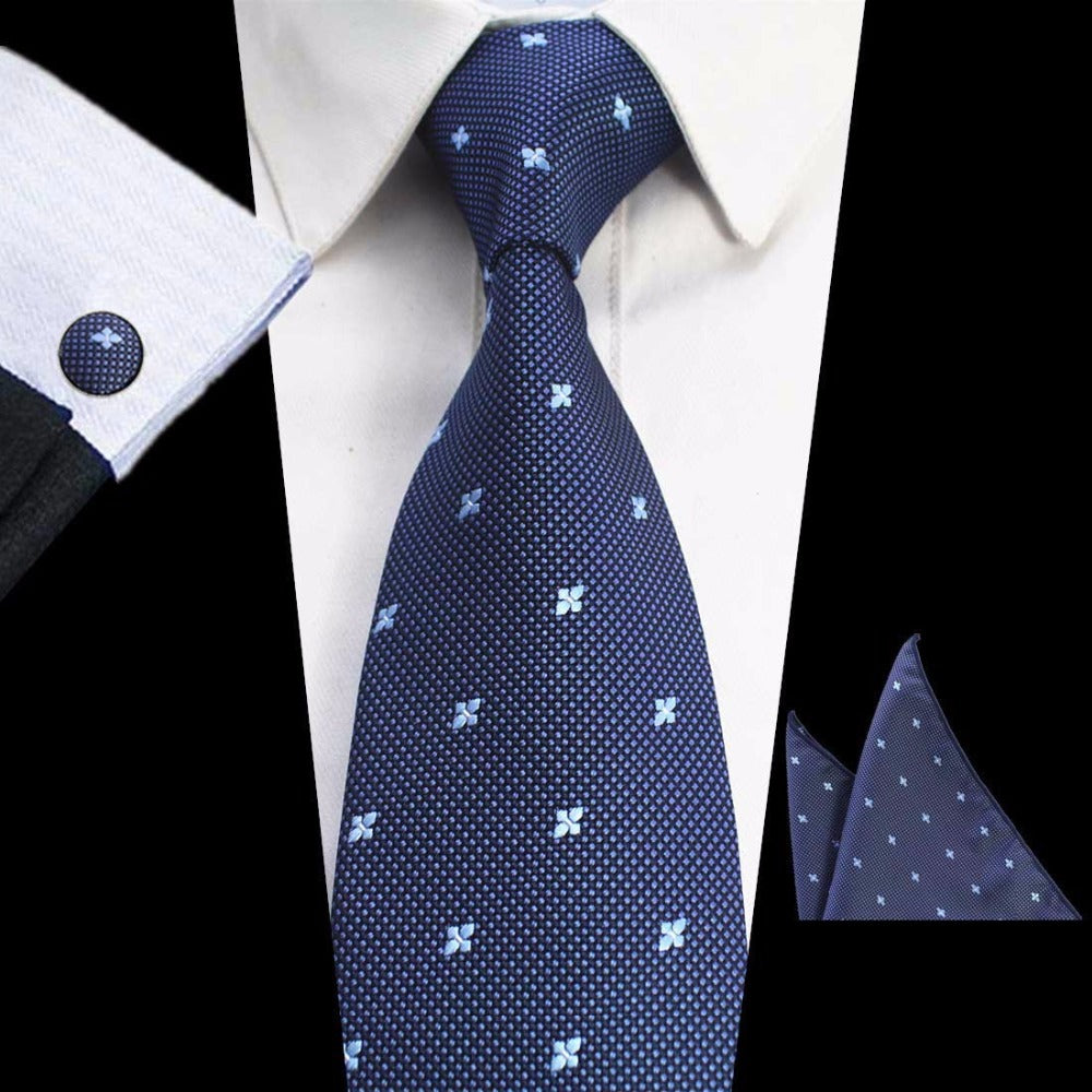 Navy Blue Floral Dots Tie Handkerchief Cufflink Set