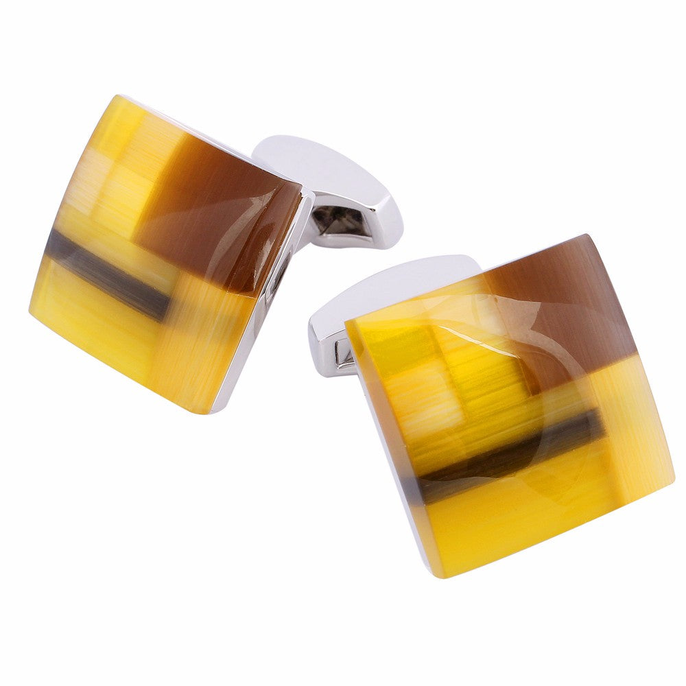 Yellow Cat Eye Stone Cufflinks