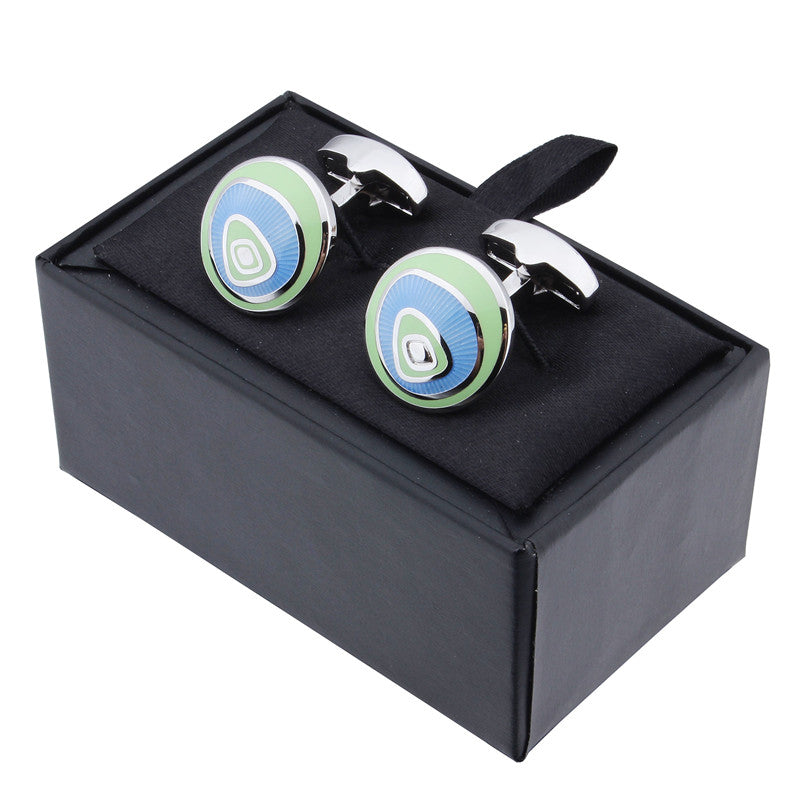 Blue Round Shape Enamel Cufflinks