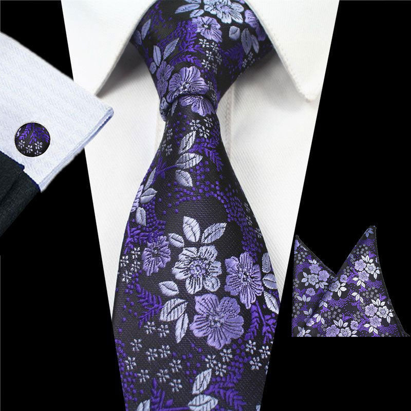 Purple Flowers Tie Handkerchief Cufflink Set