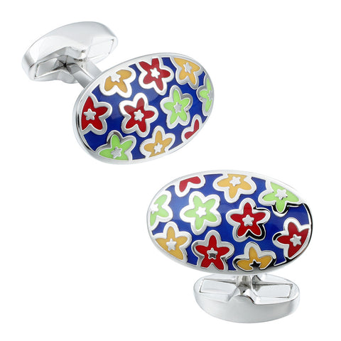 Blue Base Flower Pattern Cufflinks