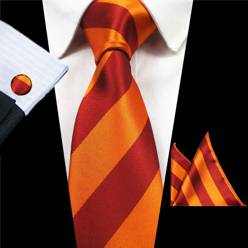 Orange Stripes Tie Handkerchief Cufflink Set