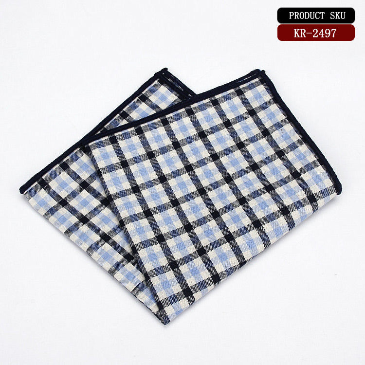 Micro Check Cotton Pocket Square