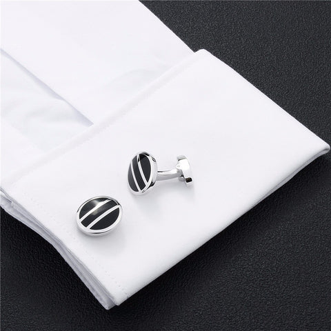 Black Enamel Formal Business Cufflinks