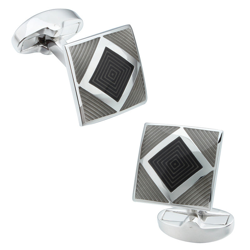 Black Square Enamel Cufflinks
