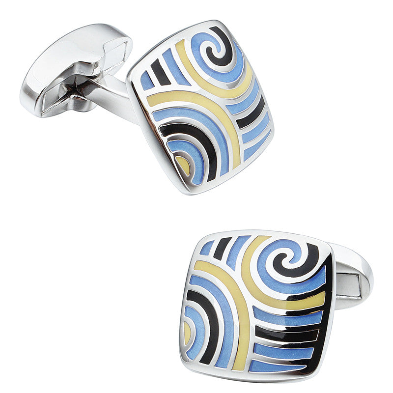Blue and Yellow Square Enamel Cufflinks