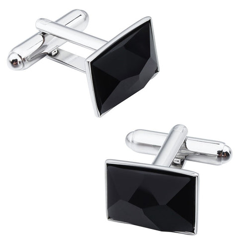 Black Irregular Surface Crystal Cufflinks