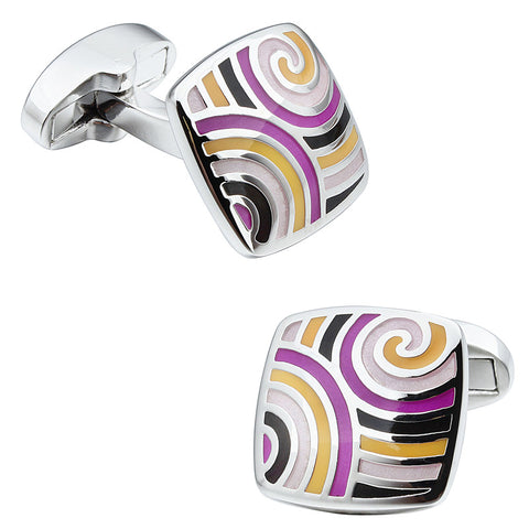 Purple and Yellow Square Enamel Cufflinks