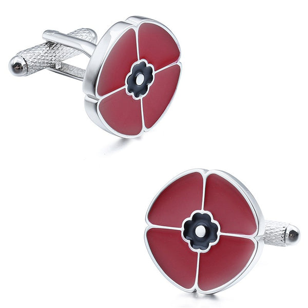 Red Enamel Flower Cufflinks