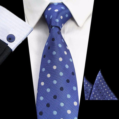 Blue Black Gray Dots Tie Handkerchief Cufflink Set