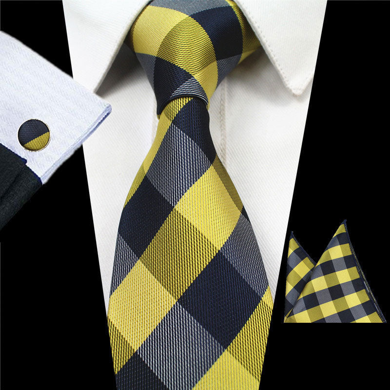 Yellow Gray Plaids Gravata Tie Handkerchief Cufflink Set