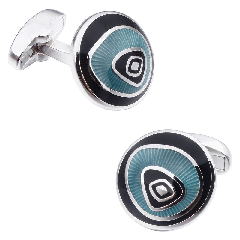 Navy Round Shape Enamel Cufflinks