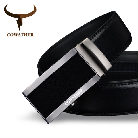 Cowather Black Genuine Leather Belt - CZ006