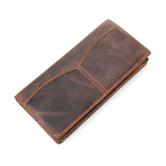 Men's Genuine Leather Long Wallet - Coffee