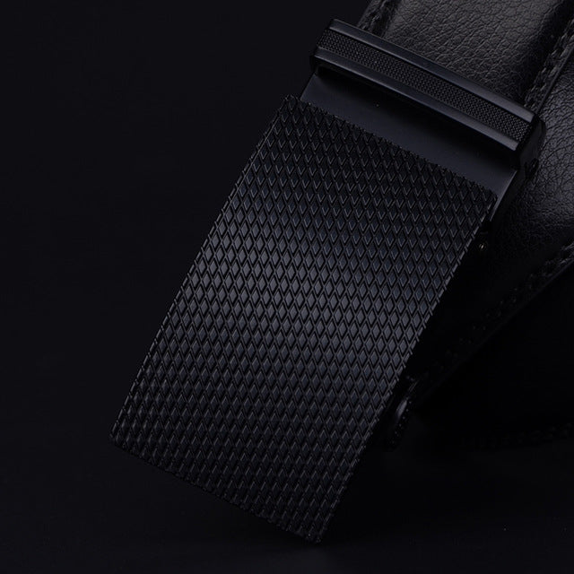 Cowather Genuine Leather Automatic Buckle Black Belt - Buckle Options Available