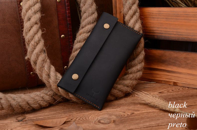 Compact Genuine Leather Long Travel Wallet