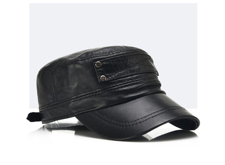 Black Sheepskin Genuine Leather Flat Baseball Cap
