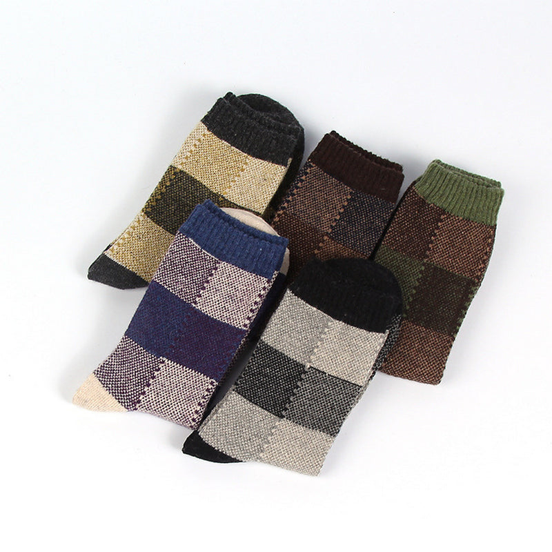 5 Pairs Retro Square Lattice Pattern Wool Socks