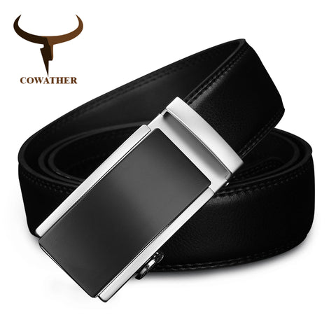 Cowather Men's Automatic Alloy Buckle Genuine Leather Belt - CZ117