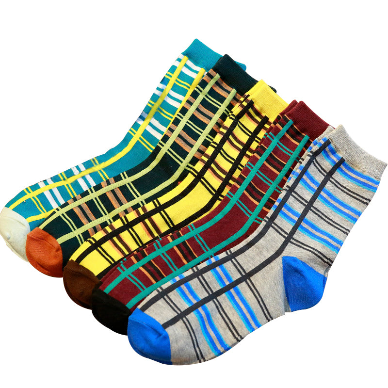 5 Pairs Mix Vertical and Horizontal Stripe Pattern Cotton Socks