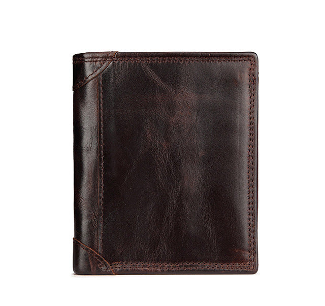 Men's Genuine Leather Compact Wallet - Coffee