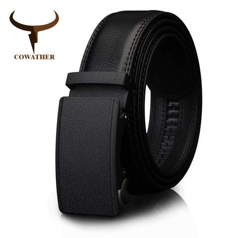 Cowather Men's Automatic Ratchet Buckle Black Belt - CZ032