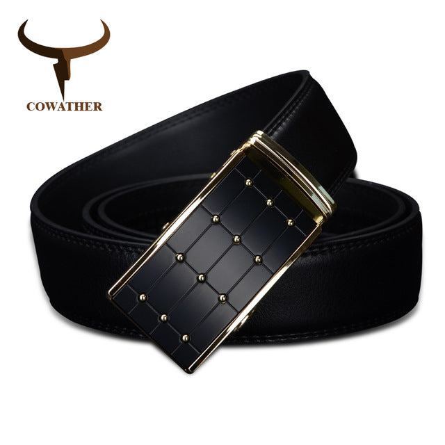 Cowather Black Genuine Leather Automatic Buckle Belt - CZ023