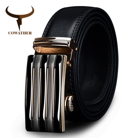 Cowather Genuine Leather Automatic Alloy Buckle Black Belt - CZ030