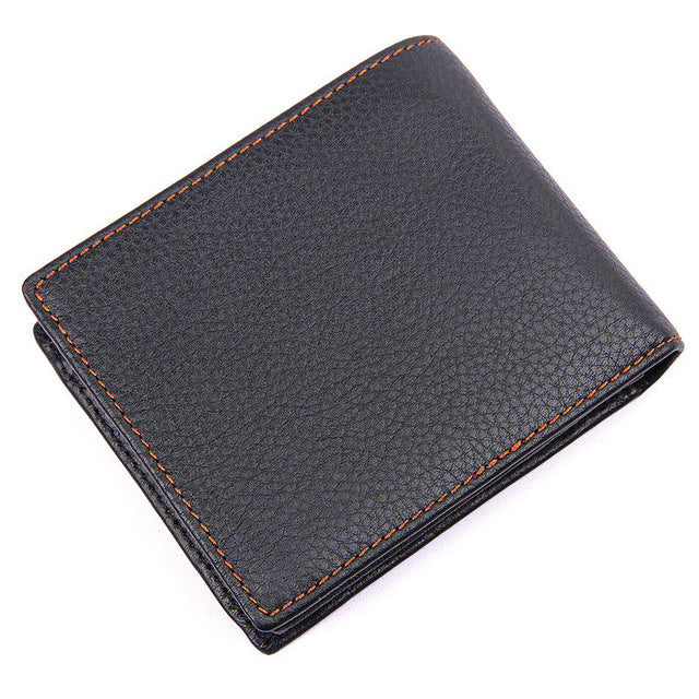 Black Pattern Genuine Leather Men's Wallet