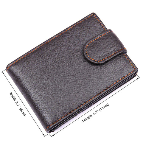 Button Closure Genuine Leather Card Holder